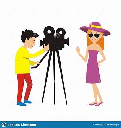 Actress Camera Poses Program Della Woman Illustrazione