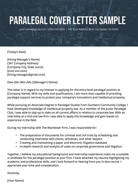 Cover Letter Sample Paralegal Image Collections Samples