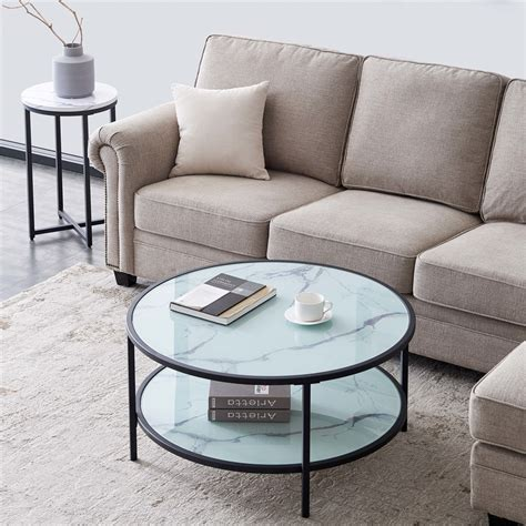 We love how simple the outside design looks, but when you peak into the inside, you can see exactly how it's made! Round Coffee Table Glass Coffee Table, with Open Storage Space for Living Room Modern Style ...
