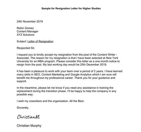 resignation letter  higher studies sample  leverage