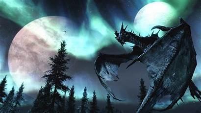 Skyrim Moons Fantasy Nature Dragons Elder Scrolls