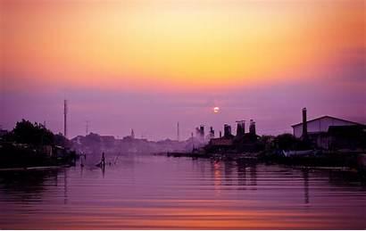 Indonesia Evening Sunset Semarang Sunrise Water Horizon