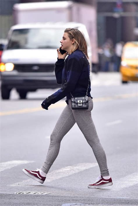 Chloe Grace Moretz Seen Wearing Tights Sneakers While