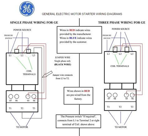 general electric motor starter  phase   phase wiring