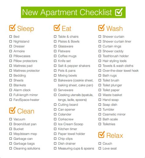 Appartment List by Free 5 New Apartment Checklist Sles In Docs