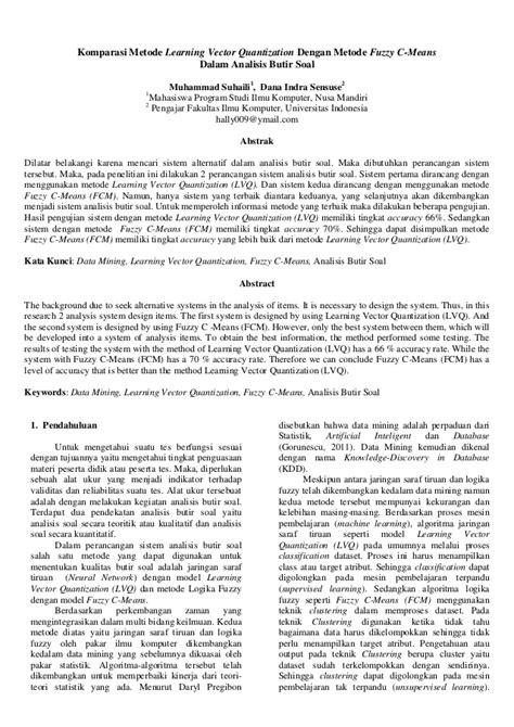 komparasi LVQ dengan FCM dalam Analisis Butir Soal