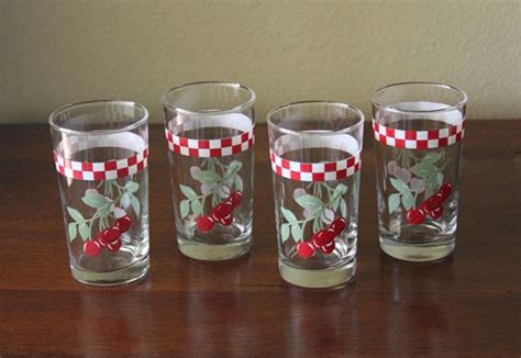 Kitchen Juice Glasses by Set Of Four Vintage Anchor Hocking Cherry And Checker