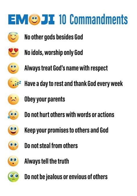 emojis  commandments printable bible lessons  kids
