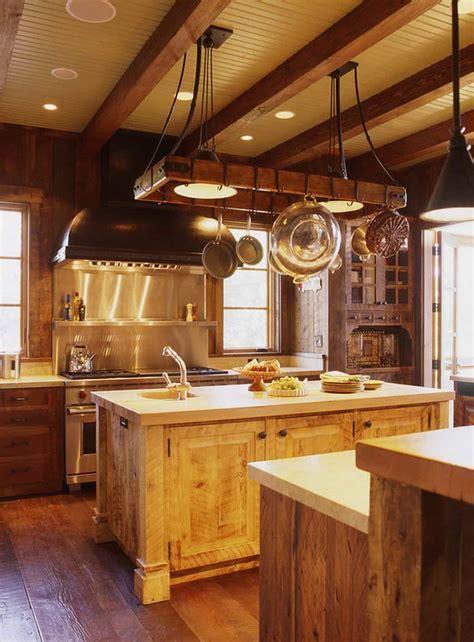 Rural Kitchen With Hanging Pot Rack Lighting Over Wooden