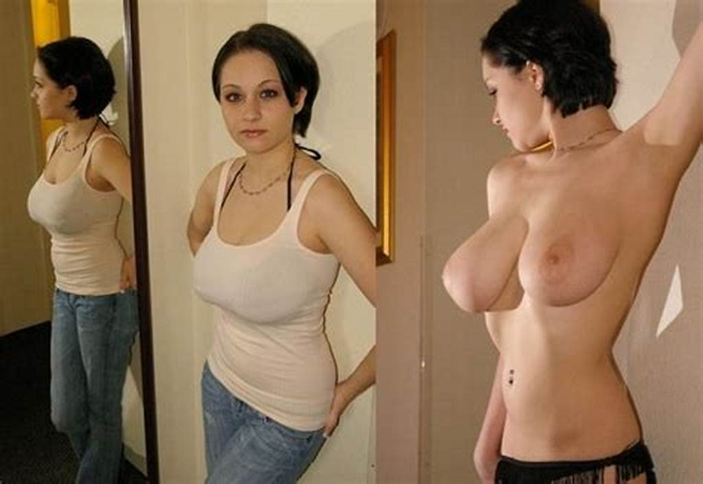 #Short #Hair #Big #Boobs,Brunette,Before #And #After,Dressed