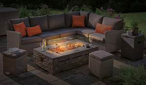 Stone Fire Pit Coffee Table 132 X 85cm