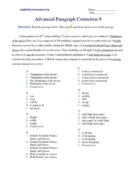 advanced paragraph correction 9 worksheet for 6th 7th grade lesson planet