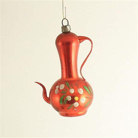 vintage glass christmas ornament coffee pot