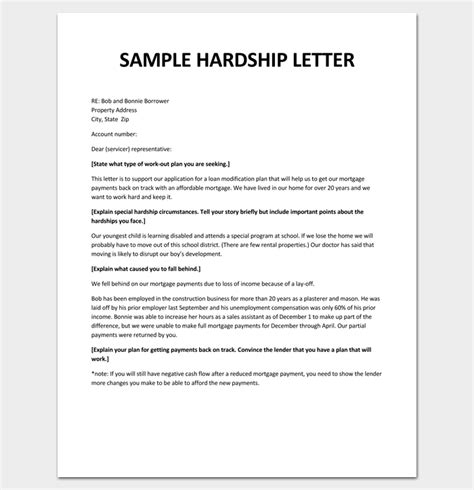 Modification Reasons by Hardship Letter Template 10 For Word Pdf Format