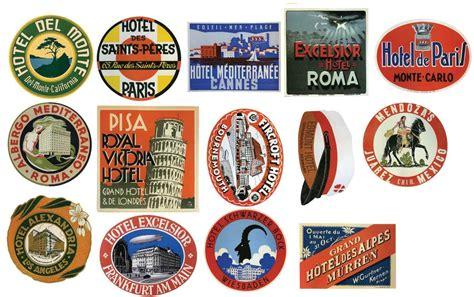 stickers de cuisine étiquettes pour bagages vintage hôtel stickers lot de 14