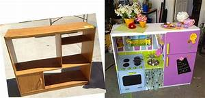Turn an old entertainment center into a kid's play kitchen ...