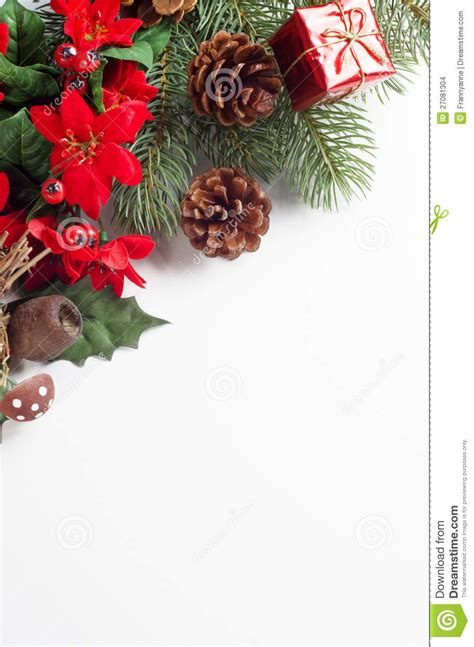 christmas flora corner border stock photo image