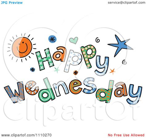 Clipart Colorful Sketched Happy Wednesday Text Royalty