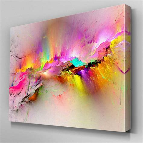 Abstrakte Kunst Leinwand by Ab970 Modern Pink Yellow Large Canvas Wall Abstract