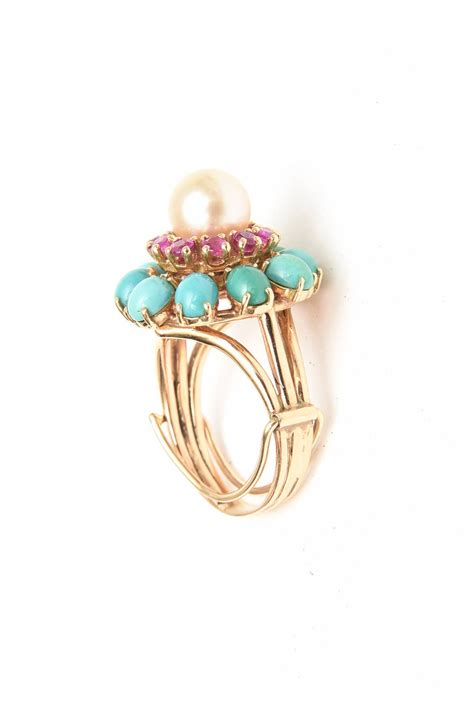 ruby pearl turquoise  cocktail dome ring  sale