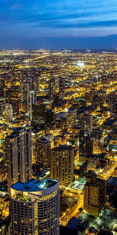 Chicago Night Skyline Sky Cityscape Illinois Iphone
