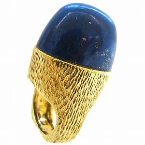 R Stone Lapis Lazuli Gold Ring Circa 1970 Kimberly
