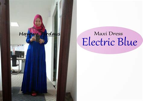 kelengkapan haji dan umrah maxi dress cotton electric blue