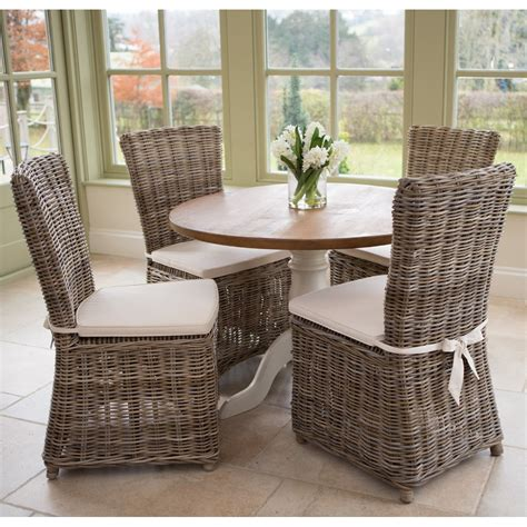 buy rustic dining table rattan chairs rustic dining