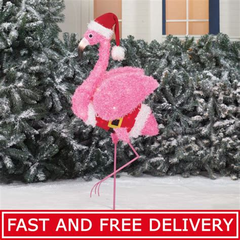 lighted christmas flamingo shop collectibles  daily