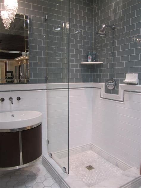 grey glass tile white subway tile and large marble hex on