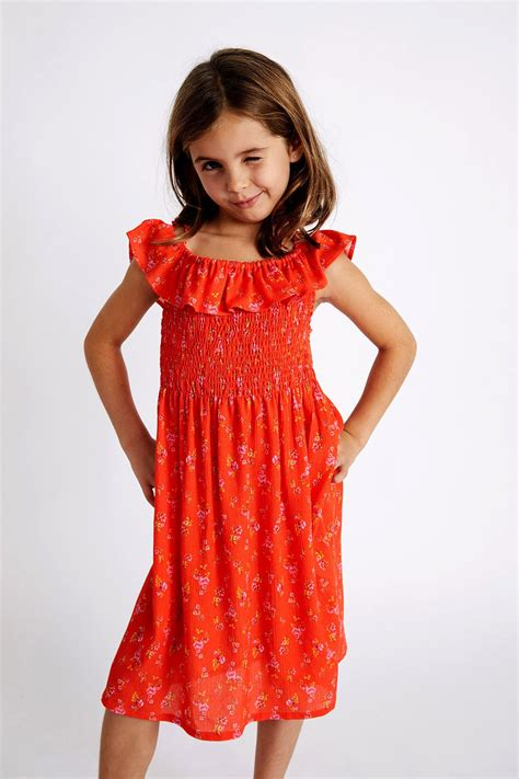 childrens orange red liberty print dress shiring
