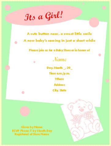 printable baby shower invitations  microsoft word
