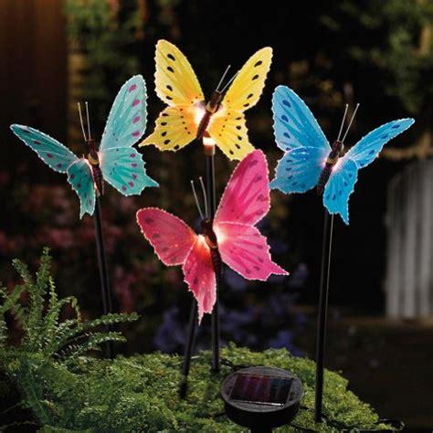 solar fiber optic butterfly garden stake lights