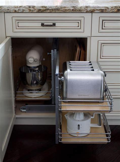KItchenAid Mixer Storage in Corner Base Cabinet