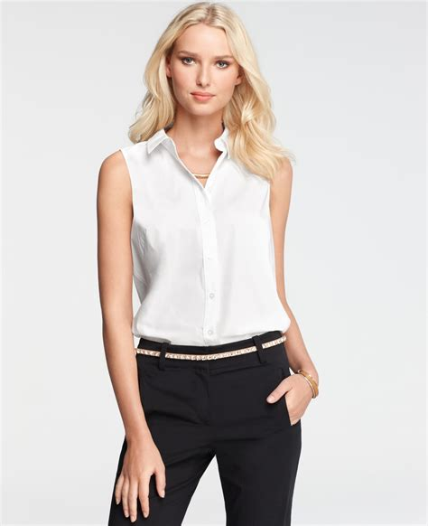 sleeveless button blouse lyst sweep hem sleeveless button shirt