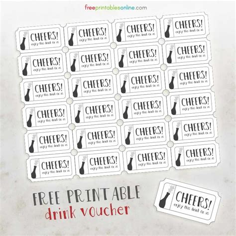 Drink Token Template by Cheers Free Printable Drink Vouchers Free Printables