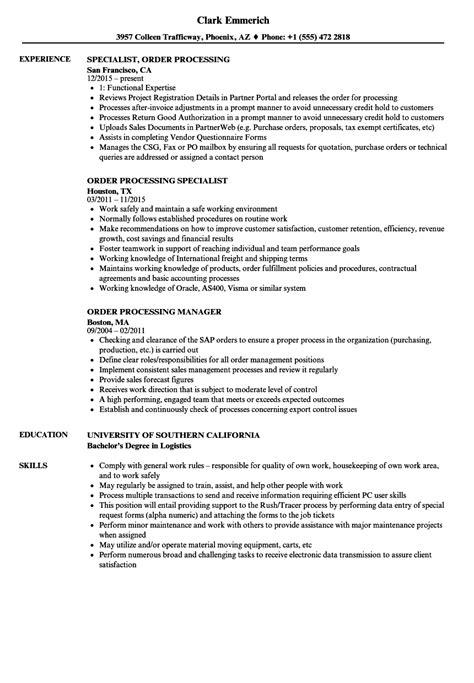 Order Processing Resume order processing resume sles velvet