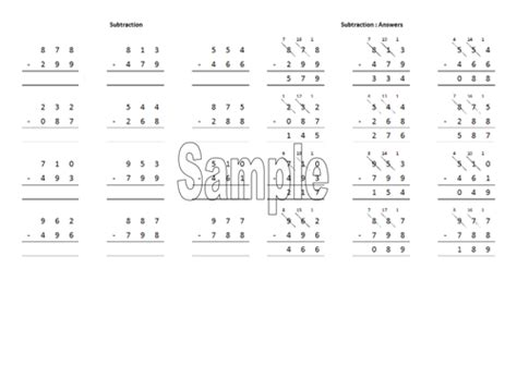 column subtraction worksheet generator by robanthony