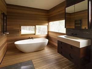 contemporary brown wood wall panel and white freestanding With salle de bain baignoire ilot