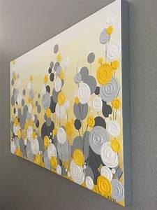 jaune gris et blanc texture fleur art 24 x 30 par With chambre bébé design avec livraison fleurs 24h 24