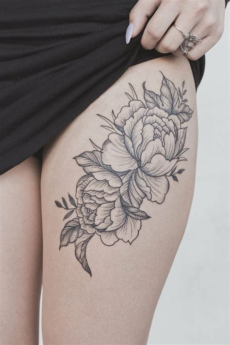 peony flower thigh tattoo tattoos floral thigh