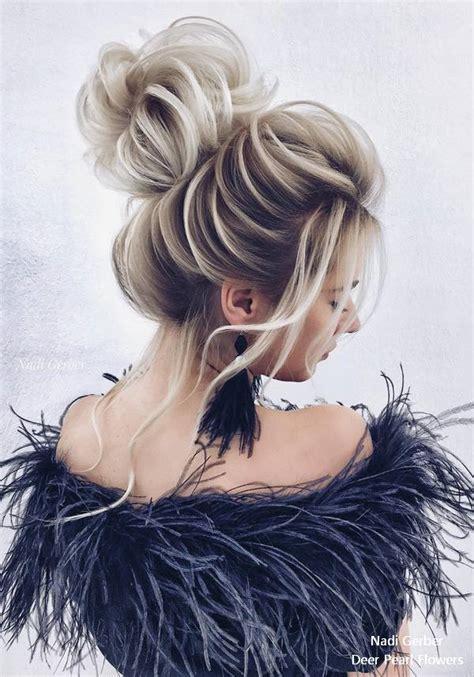 top  high bun wedding updo hairstyles deer pearl