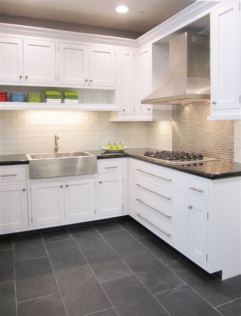 slate tile in kitchen frosted white glass subway with stainless steel 5322
