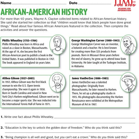 fourth grade black history month activities homeshealth info
