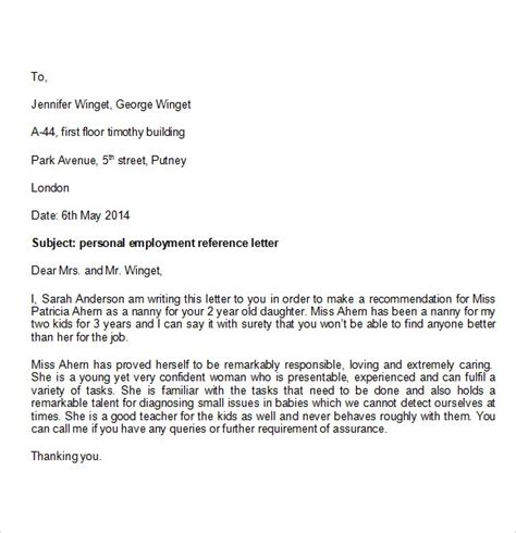 personal reference letter template   documents