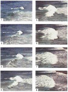A Sequence Of Eight Images Of A Breaking Wave In The Surf