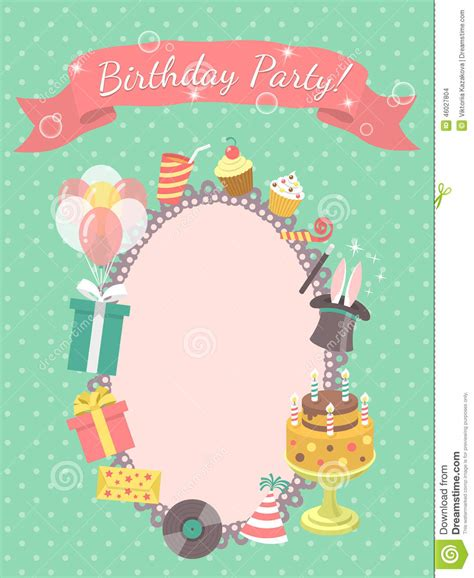 Birthday Party Invitation Card Stock Vector Image: 46027804