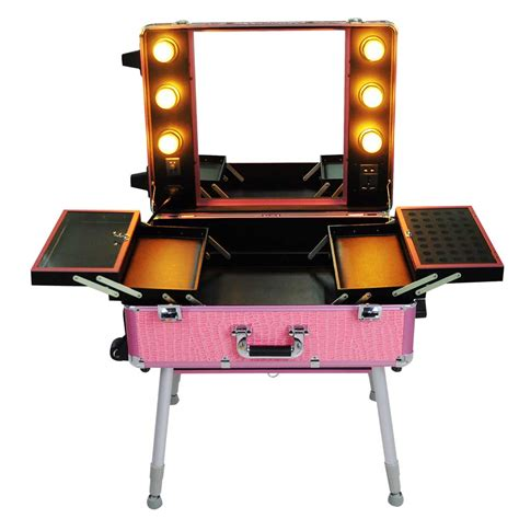 makeup vanity table with lights ebay rolling studio makeup cosmetic travel wheeled table