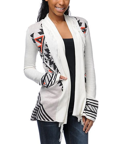 Billabong Backed Up Sweaters billabong issah tie print white cardigan sweater
