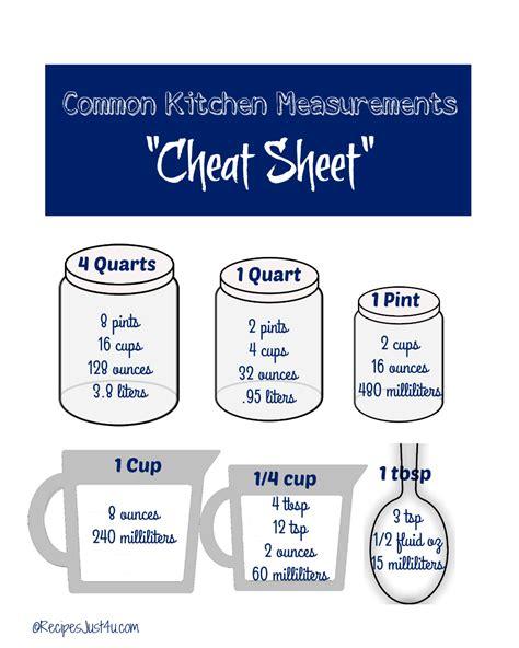 Kitchen Measurements by Kitchen Measurements Sheet Free Printable
